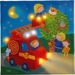Tavla med nattbelysning Brandbil
