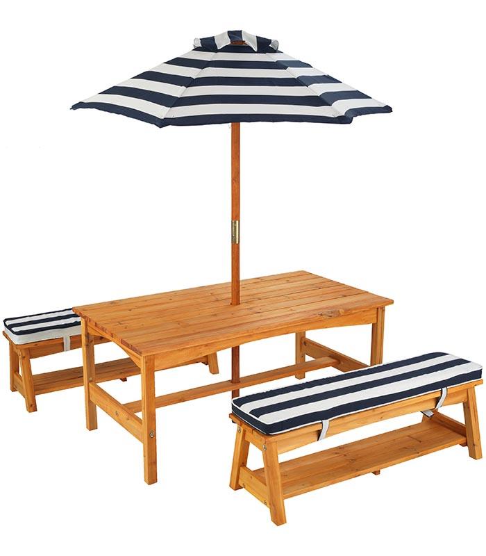 Kidkraft Utemöbel Bord & Bänkar, marinblå/vit